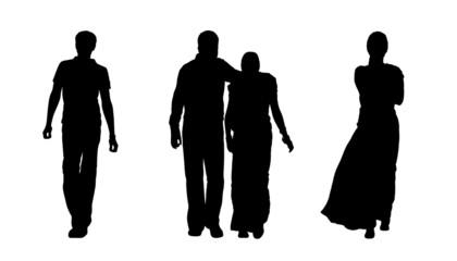 indian people walking silhouettes set 1