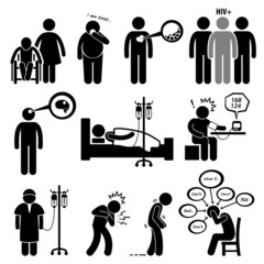 Man Common Diseases and Illness Cliparts