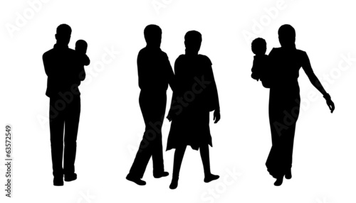 indian people walking silhouettes set 2