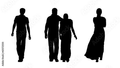 indian people walking silhouettes set 1