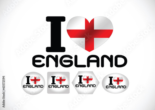 England Flag with heart