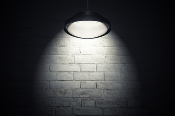 White wall illuminated with spot light