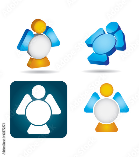 Abstract angel icon set on