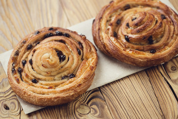 Two spiral french sweet buns, horizontal shot