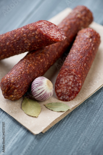 Close-up of italian salami, vertical shot