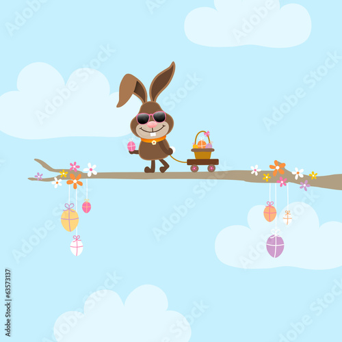Bunny Sunglasses Tree Handcart Basket Sky