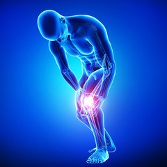 Anatomy of male knee pain on blue