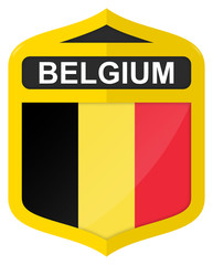 Belgium - Golden shield icon with national flag