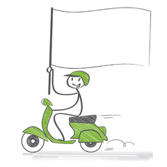 Motoroller, Fahne mit Textfreiraum