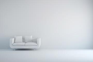 Raum in weiß mit Sofa und Kissen