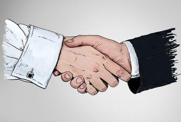Handshake and warehouse background