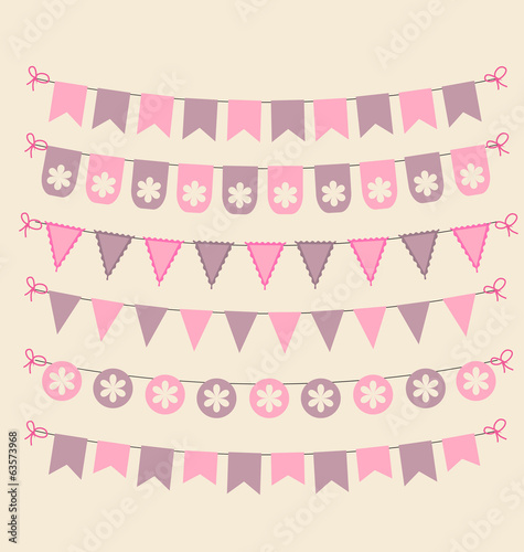 Retro bunting set patel pink scrapbook design elements