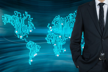 Businessman and the world map