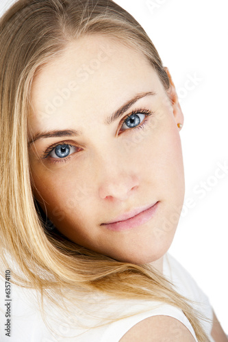 canvas print picture Beautiful woman with long straight blond hair. Fashion model pos