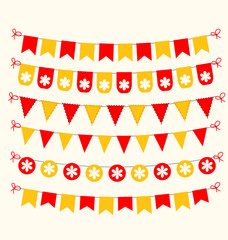 Bunting set red and yellow scrapbook design elements