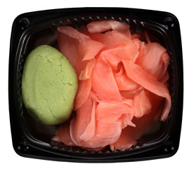 Gari ginger slices and green wasabi paste for sushi meal