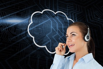 Composite image of cloud and call centre worker