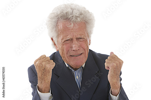 old  man, grandfather,yelling at someone with fists in the air