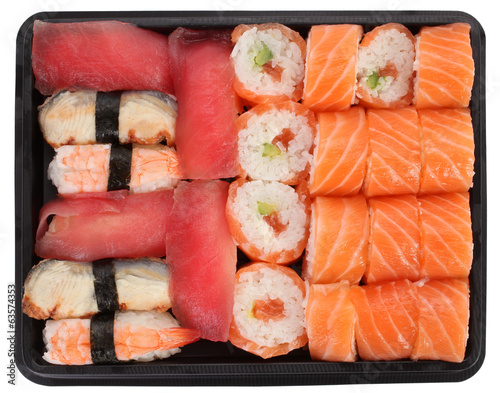 Sushi meal on white