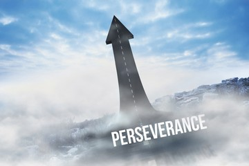 Perseverance against road turning into arrow