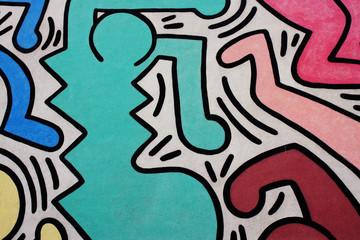 Murale di Keith Haring Tuttomondo a Pisa - particolare