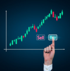 A hand pushing to the 'buy' button. stock exchange quotations.