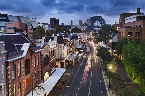Foto op Aluminium Oude gebouw Sydney The Rocks bridge from Top sunset