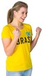 canvas print picture - Excited football fan in brasil tshirt