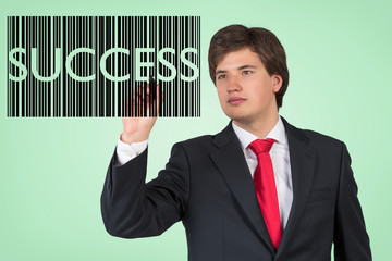 Businessman drawing the barcode with the word 'business'