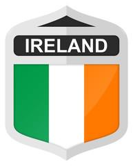 Ireland - Silver shield icon with national flag
