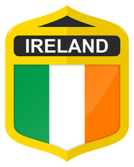 Ireland - Golden shield icon with national flag