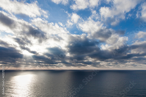 Sunrise over the sea, marine landscape