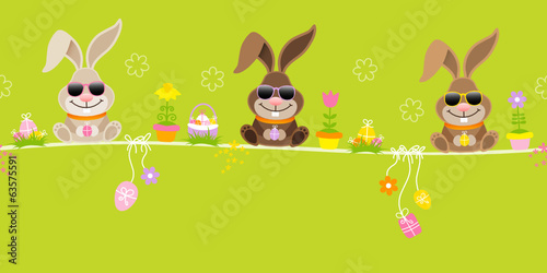 Slim Easter 3 Bunnies Symbols Green