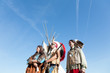 Group of North American Indians against the blue sky
