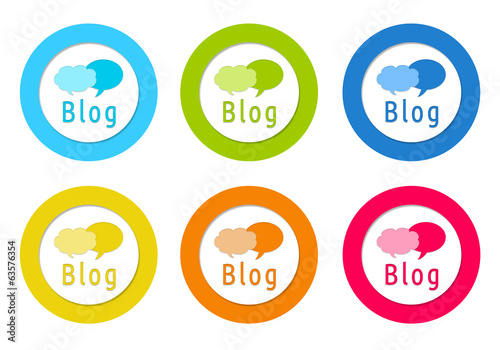 Colorful rounded icons with Blog symbol