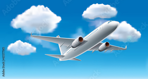 Airplane in sky vector illustration