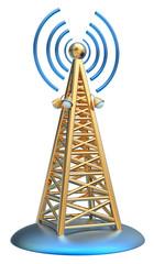 digital transmitter sends signals from high tower