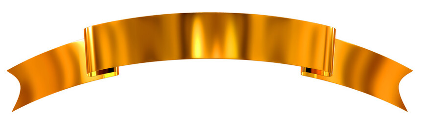 Gold glossy ribbon as banner