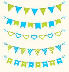 Bunting set patel green and blue scrapbook  flags