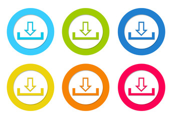 Colorful rounded icons with download symbol