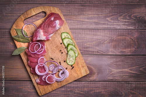 Sliced raw meat pork