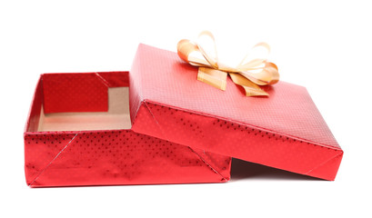 Open red gift box.