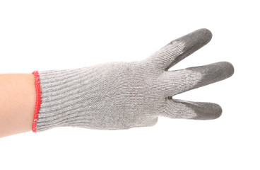 Hand in gloves shows three.