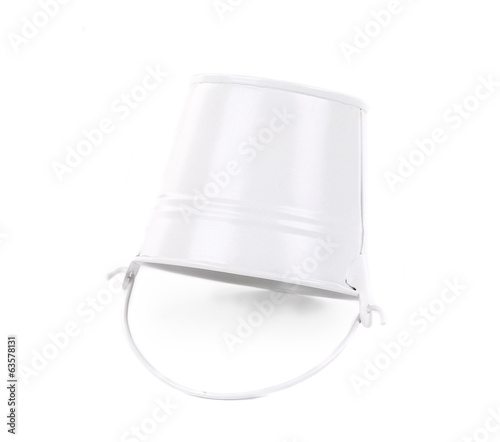 White metal bucket with handle.