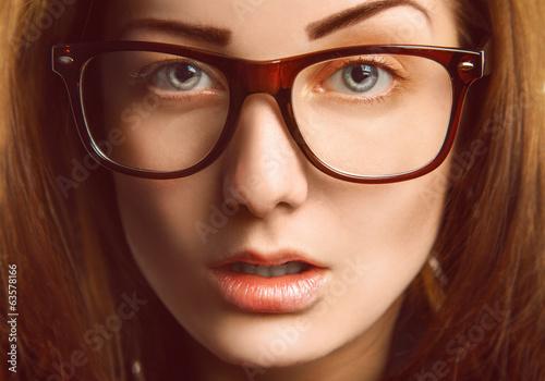 Horizontal portrait of caucasian woman in glasses