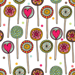 Cute seamless pattern with lollipops.