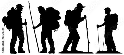 hiker silhouettes - 63578724