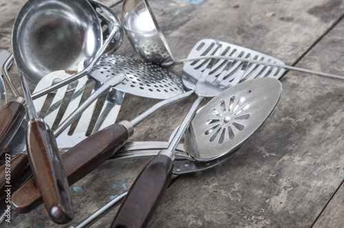 Old Vintage Metal soup ladles and slotted spoon
