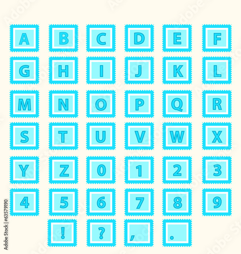 Alphabet Vector Set letters in blue squares
