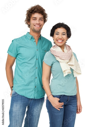 Smiling casual young couple